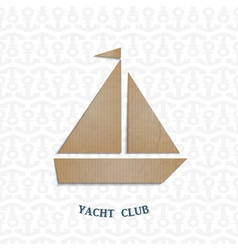 Yacht cut out of cardboard vector image