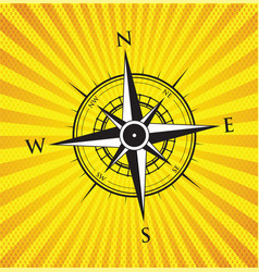 yellow compass background vector image