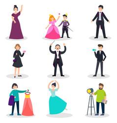 people in theatre set vector image