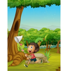 Boy running in a forest vector