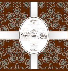 card with brown floral japanese pattern vector image vector image