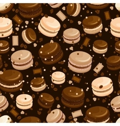 Chocolate macaroon and coffee seamless background vector image vector image
