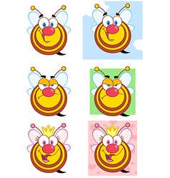 Cute Honey Bees Cartoon Character Collection vector image