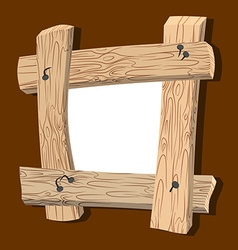 Frame is made of wood Wooden boards and old nails vector image vector image