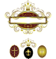 Frame with a gold cross vector image vector image
