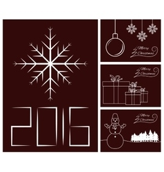 Merry Christmas and Happy New Year card set vector image