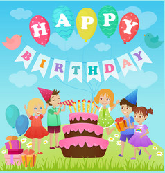 birthday party for kids cartoon vector image vector image
