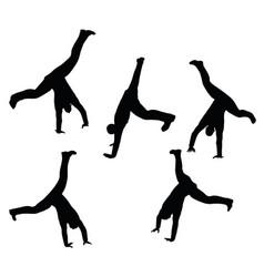 Boy silhouette in sitting cartwheel pose vector