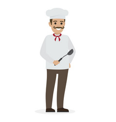 chef food in white tunic and toque holds ladle vector image vector image