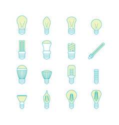 different lamp or light bulbs line icons set vector image