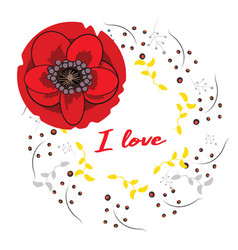 frame with hand drawn red poppies and i vector image