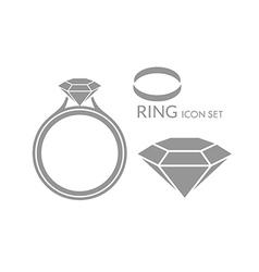 Jewelry Wedding ring Diamond Icon set vector image vector image