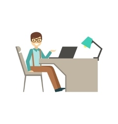 Mn In Glasses Behind His Desk Coworking In vector image