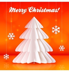 Origami paper Christmas tree on orange background vector image