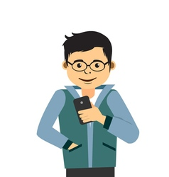 Young Man With Smartphone vector image