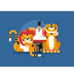 Animal trainer with tiger vector image vector image
