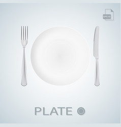 plate with fork and knife isolated on a background vector image vector image