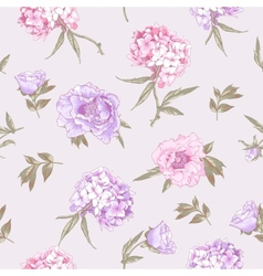 Seamless Background with Hydrangea and Peonies vector image