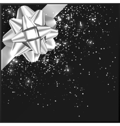 Silver Christmas Bow with confetti on gift box vector image vector image