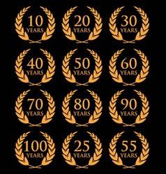 10 100 anniversary laurel wreath2 vector image
