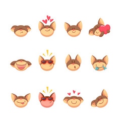 adorable cartoon cat set icons vector image