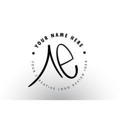 Ae handwritten letters logo design with circular vector