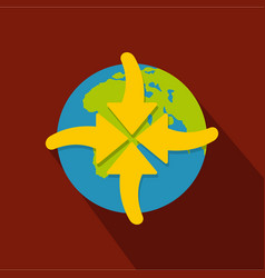 arrow in world icon flat style vector image