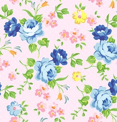 Beautiful floral seamless pattern with blue roses vector