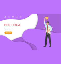 best idea web page template man with trophy cup vector image