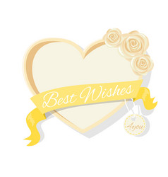 Best wishes frame rose flowers heart shape border vector
