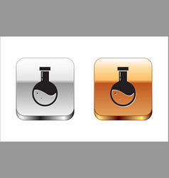 Black bottle with potion icon isolated on white vector
