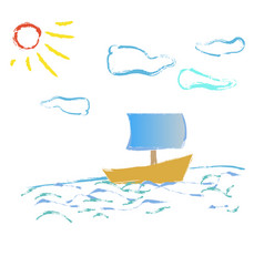 boat on the waves of the sun sunshine vector image