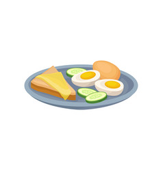 Boiled egg sandwich with cheese and cucmber on a vector