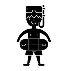 boy with swimming mask in pool icon vector image