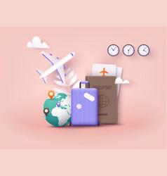 Business trip banner with passport tickets travel vector
