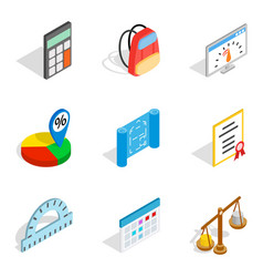 Calculator icons set isometric style vector