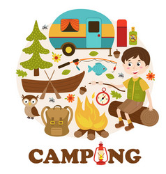 Camping elements and boy vector