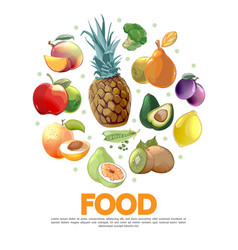 cartoon fruits and vegetables concept vector image