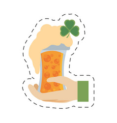 Cartoon hand leprechaun holding glass beer st vector