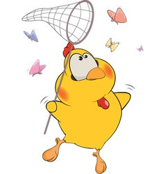 Chicken and butterflies cartoon vector image