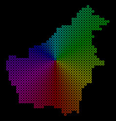 Colored dotted borneo island map vector