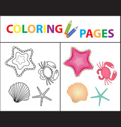 coloring book page sea set star shell crab vector image