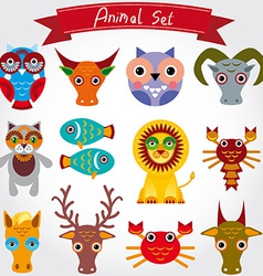 Cute animal set including lion cat hors vector