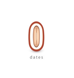 Dates simple icon vegan logo template minimalism vector