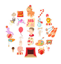 Delight icons set cartoon style vector