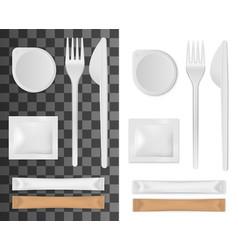 Disposable tableware salt sugar and napkins vector