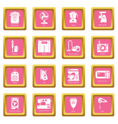 domestic appliances icons set pink square vector image