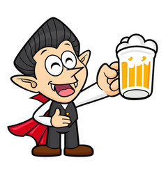 Dracula character is holding a beer toast vector