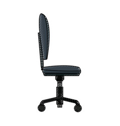 Drawing chair office wheel soft profile vector