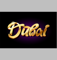 Dubai 3d gold golden text metal logo icon design vector